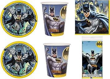 Party Store Web by Hogar Dulce Hogar Batman Juego de decoración de Mesa Fiesta Hombre murciélago – Kit N ° 7 de vajilla (24 Platos ,24 Madera): Amazon.es: Juguetes y juegos