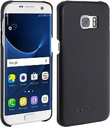 StilGut Cover Type Case, Cover in Pelle per Samsung Galaxy S7 Edge, Nero Nappa