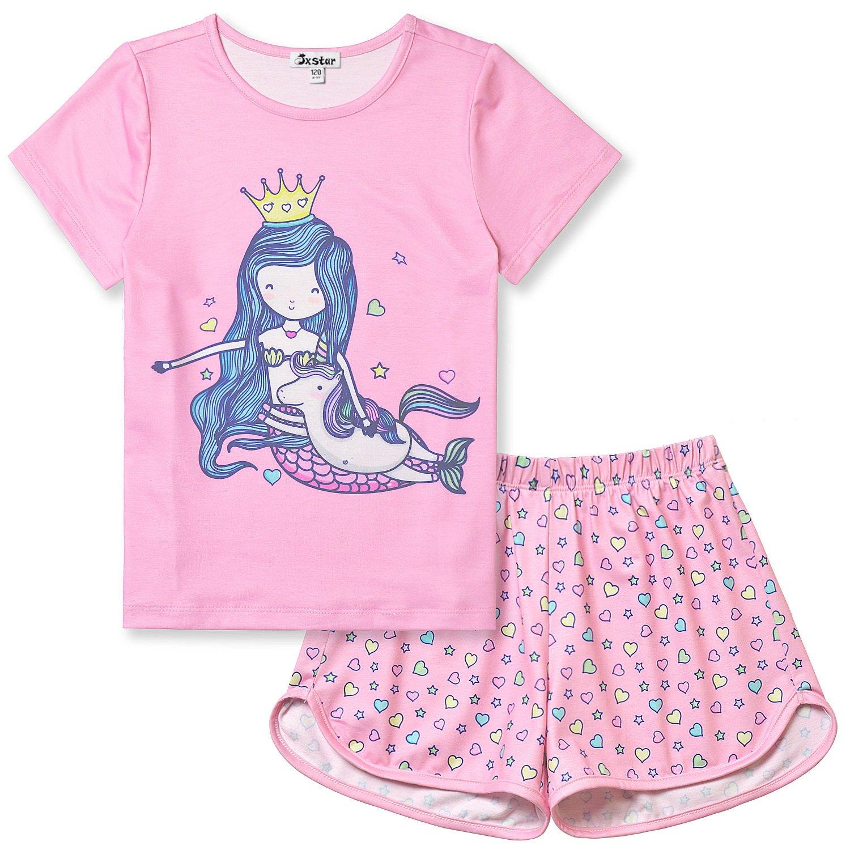 Jxstar Girls Summer Pajamas Mermaid Sleepwear Kids Cute Pink Teen Cotton Short Sleeves