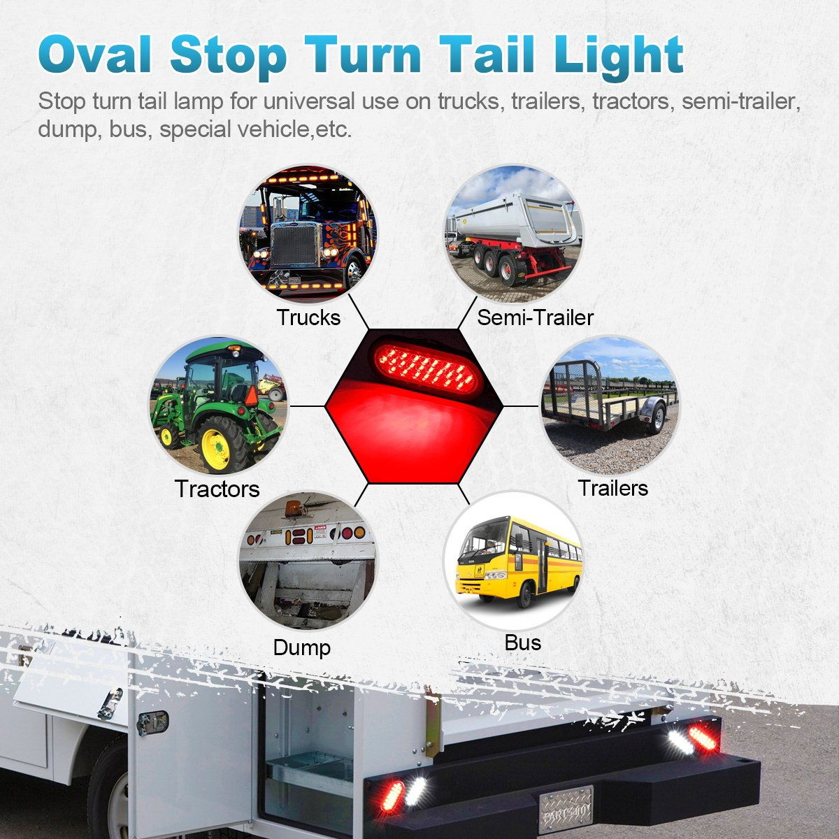 Partsam 4 X 12v 6 Inch Oval Red 24 Led Doides Stop Tail Also Trailer Lights Along With Wiring Turn Truck Tractor Boat Brake Sealed Marker Waterproof W Grommet Mount