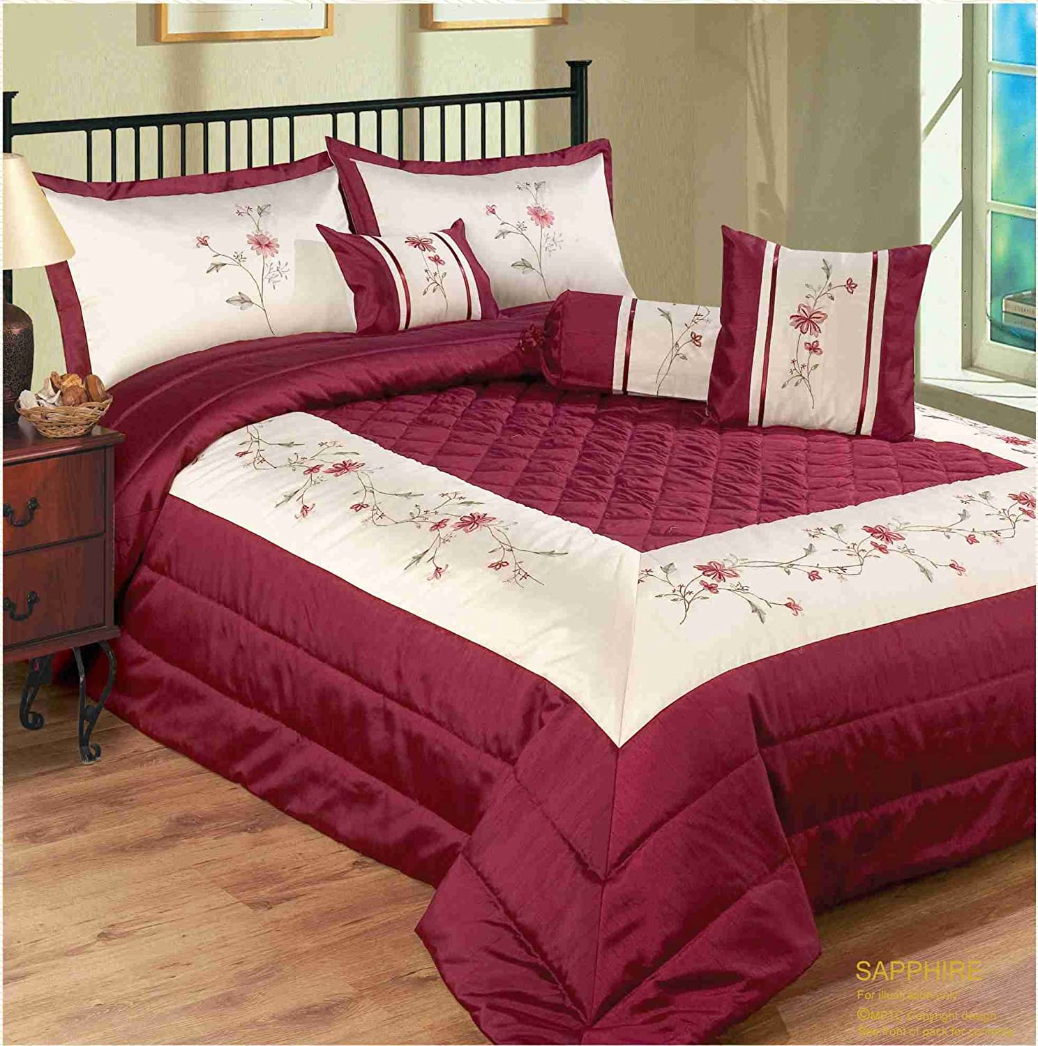 double bed burgundy sapphire floral bedspread quilted comforter throw modernembroided embellished amazoncouk kitchen  home. double bed burgundy sapphire floral bedspread quilted comforter