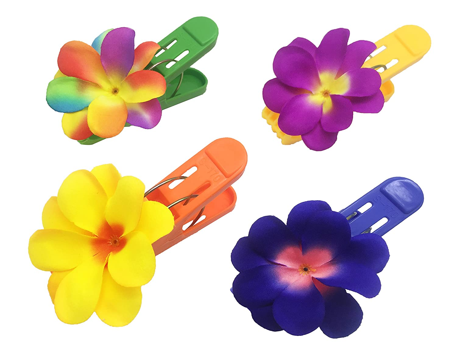 (Set of 4) Beach Towel Tropical and Colorful Plumeria Clips Jumbo Size (5 inches) for Beach Chair Or Pool Loungers on Your Cruise