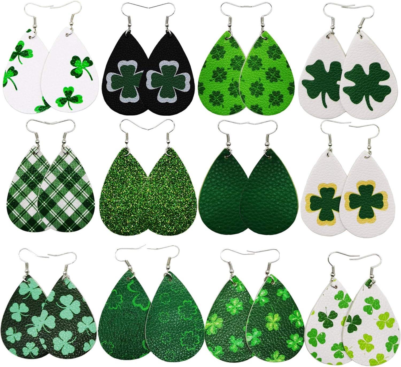 Stology St Patricks Day Faux Leather Earrings for Women Set of 12 Green Gnomes Teardrop Dangle Earrings Bulk Shamrock Lucky Clover Girls Jewelry Irish Holiday Fashion Accessory