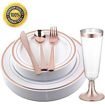 Platos de plástico desechables de color oro rosa ...