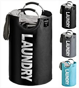 YOUDENOVA 82L Large Laundry Basket - Collapsible Portable Laundry Fabric Hampers Tote Bag - Foldable Cloth Washing Bin - Black