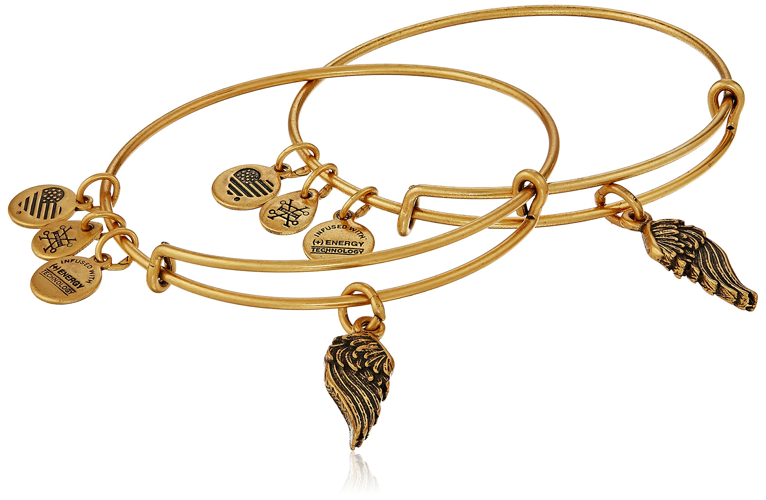 Alex and Ani ''Path of Symbols'' Wings Set of 2 Gold Expandable Wire Bangle Charm Bracelet