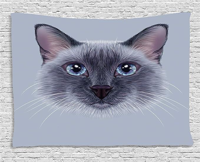 ABAKUHAUS Animal Tapiz de Pared, Retrato del Gato Siamés, para el ...