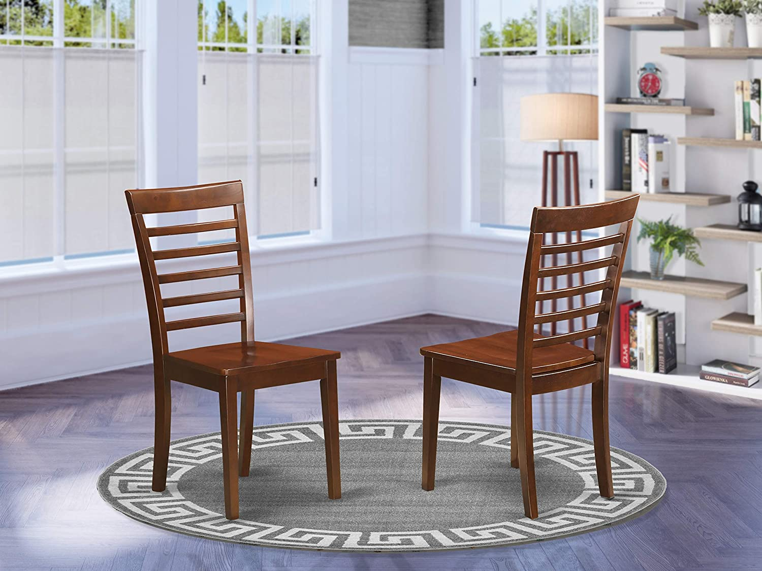 East West Furniture Milan dining chairs - Wooden Seat and Mahogany Hardwood Structure dining chair set of 2
