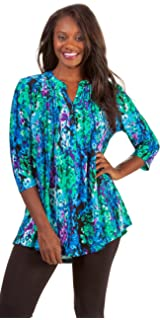 ec631a651ccdcb La Cera Women s Printed Pleated Top Tunic at Amazon Women s Clothing ...