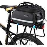 Bicycle Rear Pannier Bag Waterproof, 10-25L Multi-Function Large Capacity Detachable Bicycle Tail Seat Trunk Bag Handbag Shou