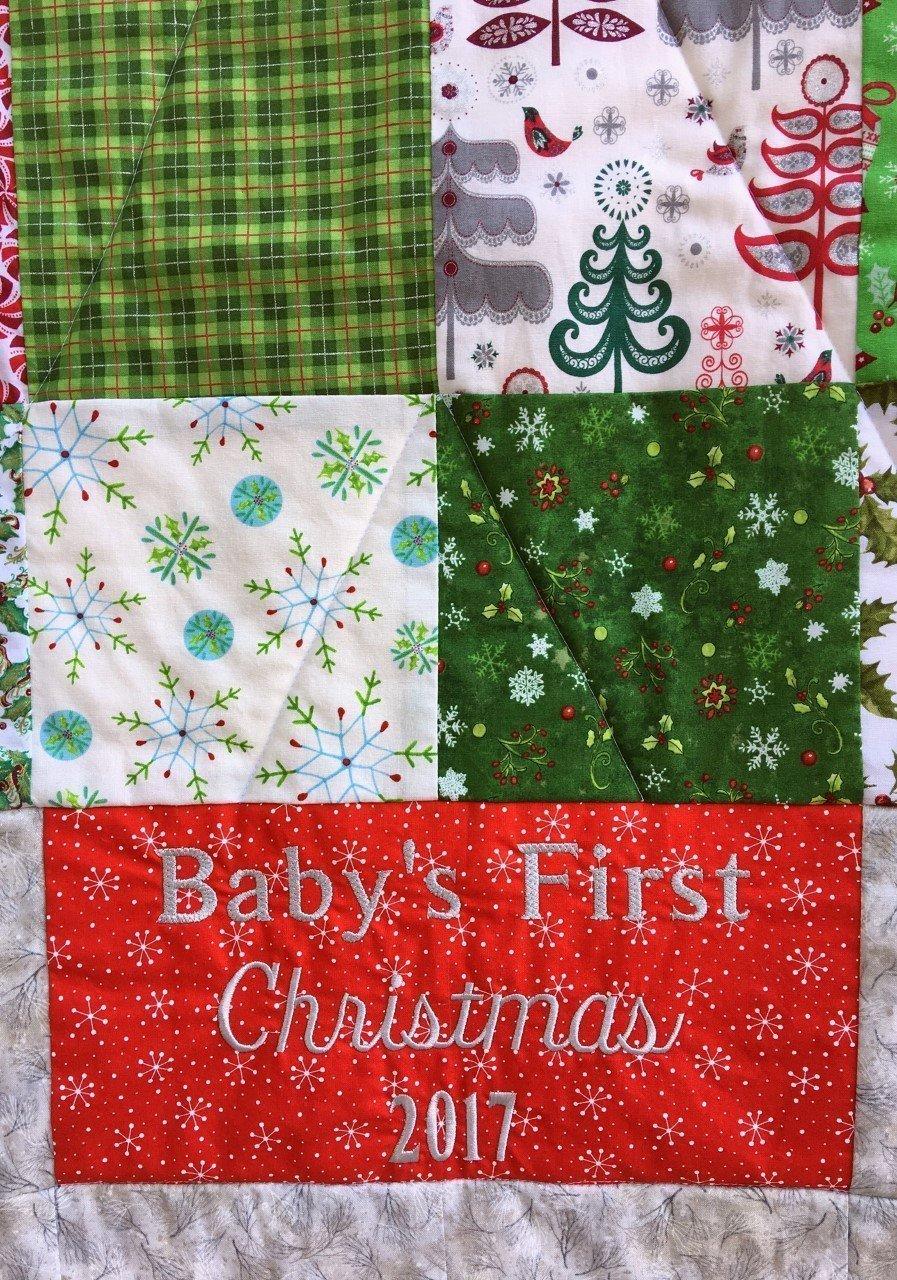 Baby's First Christmas Nursery Quilt Newborn Baby Blanket