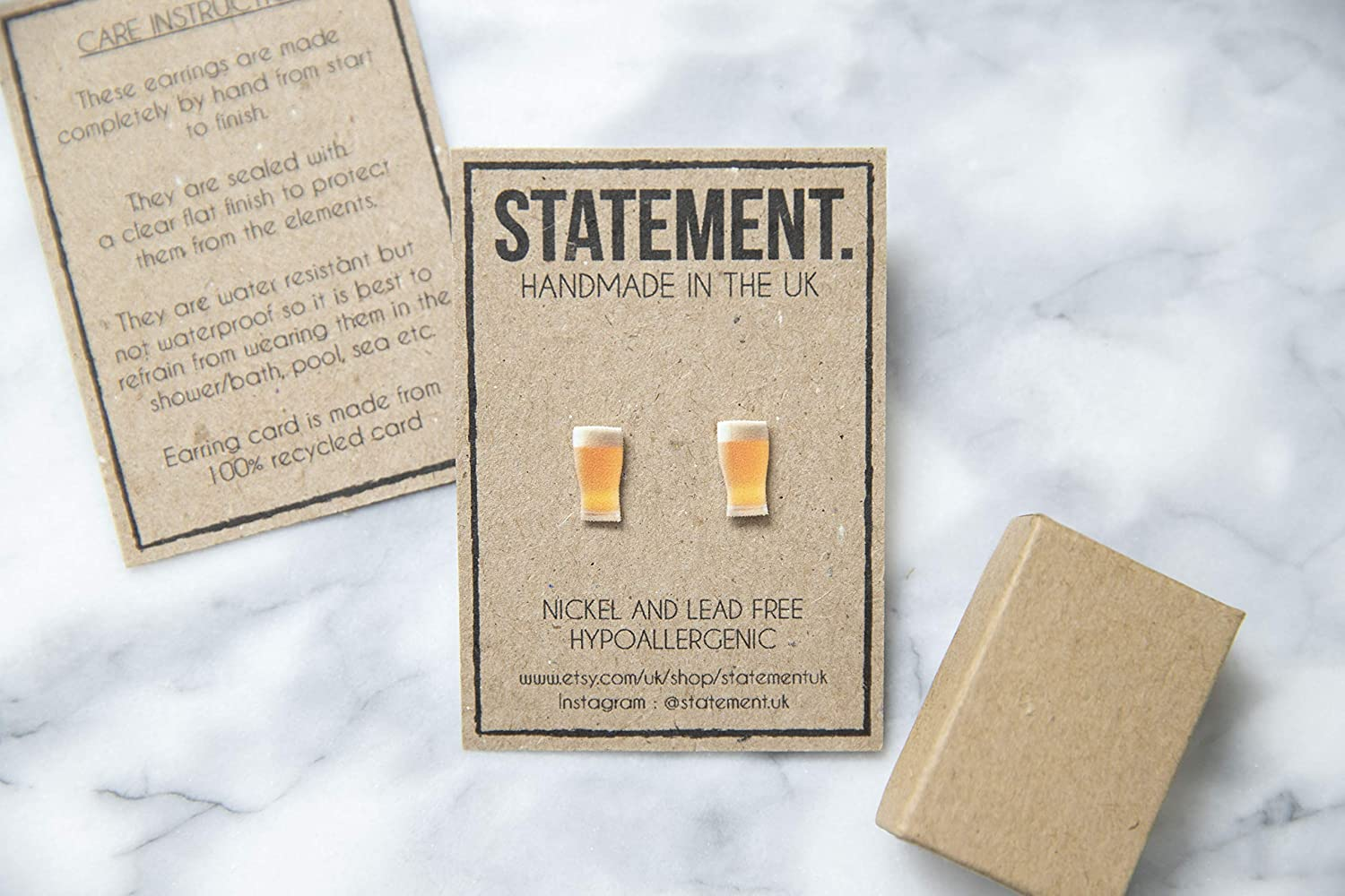 Beer with Froth Pub//Bar Pint Glass Stud Earrings 1 pair