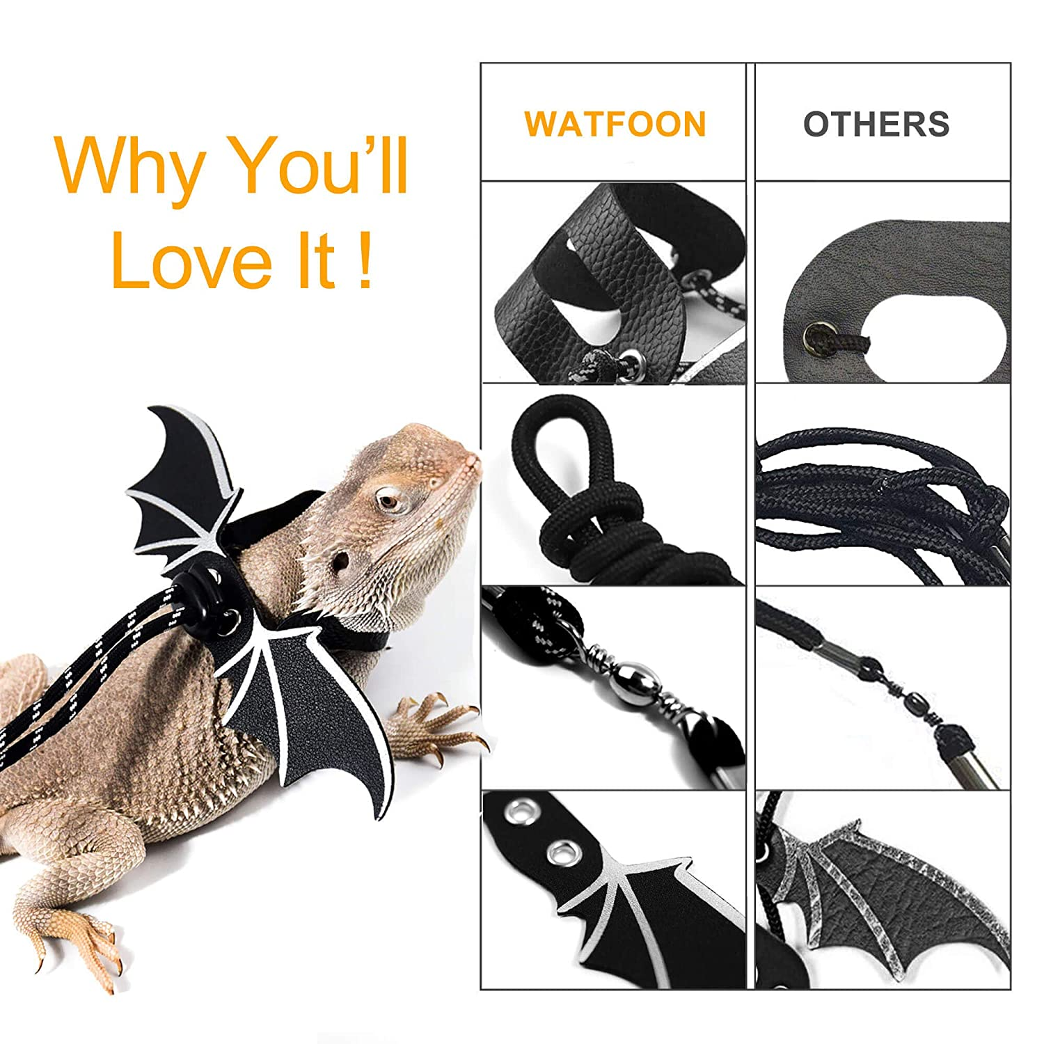 Great for Lizard Chameleon Gecko Guinea Pig Ferrets Hamster Rats Walking /& Training WATFOON Comfort Reptile Harness with Cool Wings Adjustable Handmade Lead