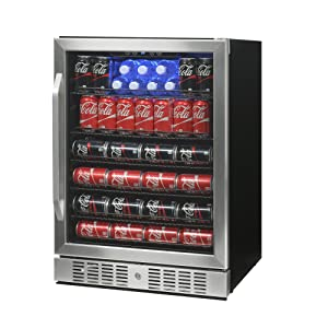 NewAir Built-In Beverage Cooler and Refrigerator, Stainless Steel Mini Fridge with Glass Door,177 Can Capacity, ABR-1770