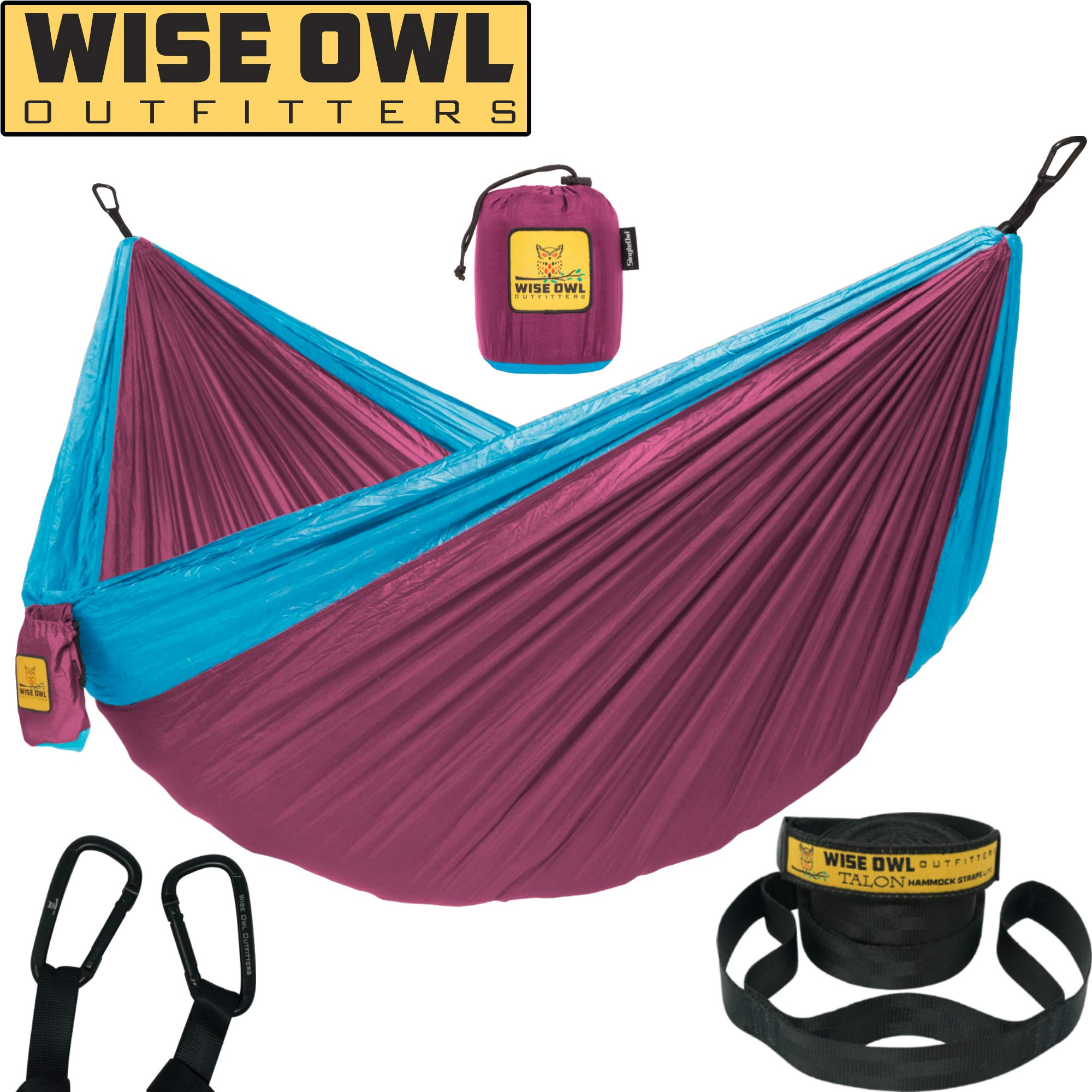 Wise Owl Outfitters Hammock Camping Double & Single with Tree Straps - USA Based Hammocks Brand Gear, Indoor Outdoor Backpacking Survival & Travel, Portable SO Fu/Blu