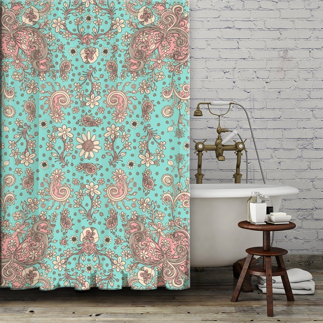 Teal pink floral Shower Curtain. Boho gypsy style bathroom accessories. Add a matching bath mat! Artwork by mixed media artist C.Cambrea.
