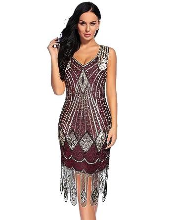 24f5b8b92c5 Flapper Girl 1920s Dress Gatsby Sequin Embroidered Flapper Mesh Hem Dress  (S