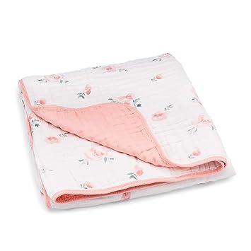azul y gris diseño reversible-en color de rosa Super Suave Bebé Niña o Niño Manta