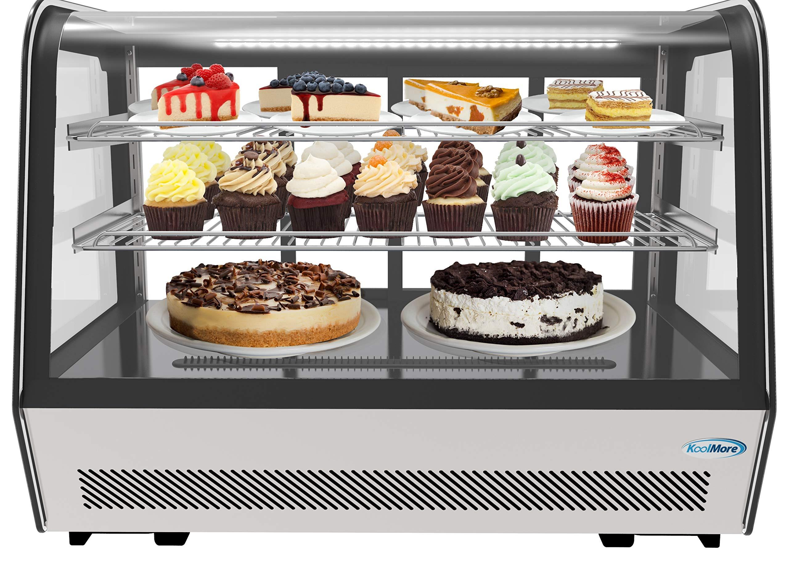 KoolMore 35'' Commercial Countertop Refrigerator Display Case Merchandiser with LED Lighting - 5.6 cu. ft