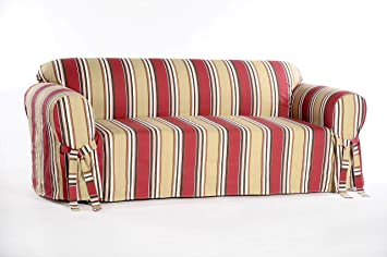 Classic Slipcovers Printed Classic Stripe Canvas Sofa Slipcover, Red