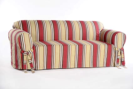 Amazon.com: Classic Slipcovers Printed Classic Stripe Canvas Sofa ...