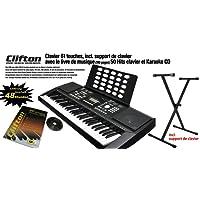 Clifton Keyboard LP6210C, USB, MIDI, 61 anschlagdyn. Tasten, Netzteil, Pitchbend-Rad - Komplettset mit Ständer