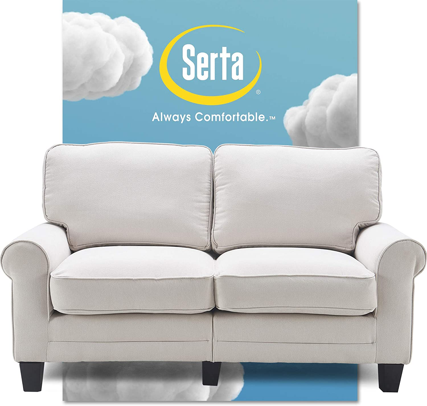 "Serta Copenhagen Sofa Couch for Two People, Pillowed Back Cushions and Rounded Arms, Durable Modern Upholstered Fabric, 61"" Loveseat, Cream"