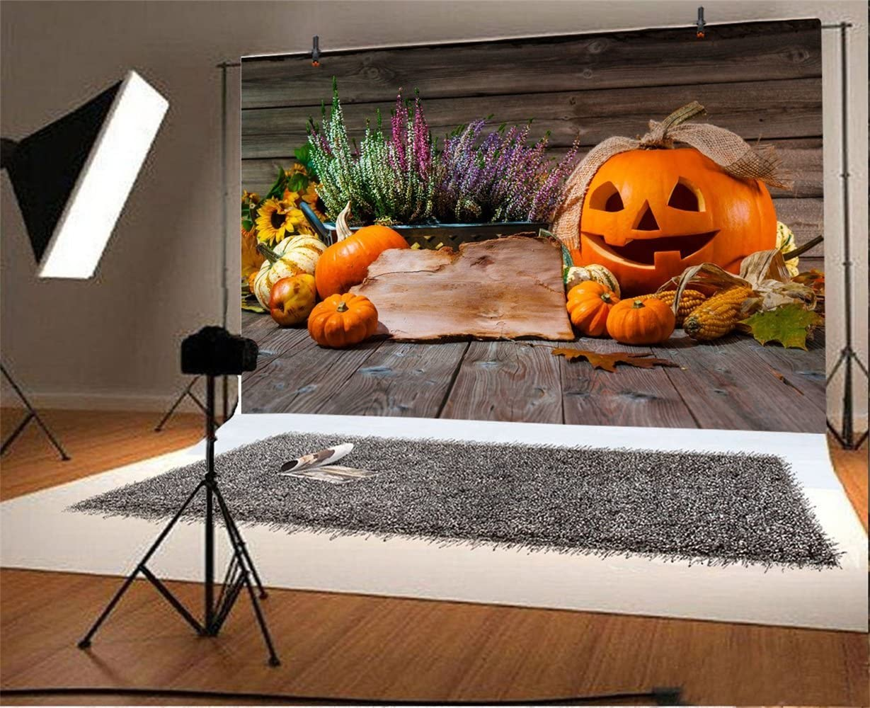 Laeacco 6x4ft Halloween Theme Backdrop Vinyl Indoor Ribbon Grinning Pumpkin Lamp Small Cushaws Flowers Wooden Floor Photography Backgroud Child Kids Baby Shoot Poster Greeting Card