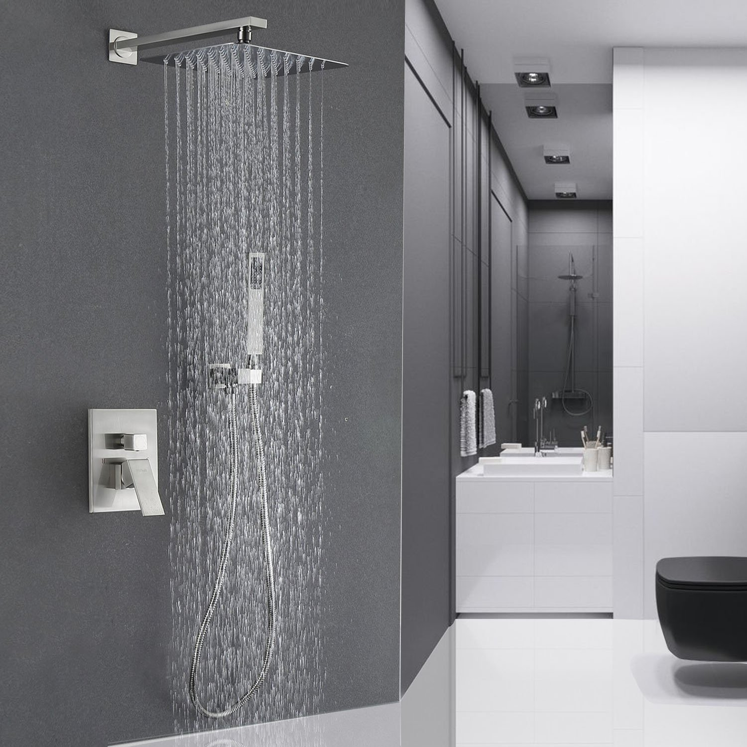 Esnbia Luxury Rain Shower Systems Wall Mounted Shower Combo Set with ...