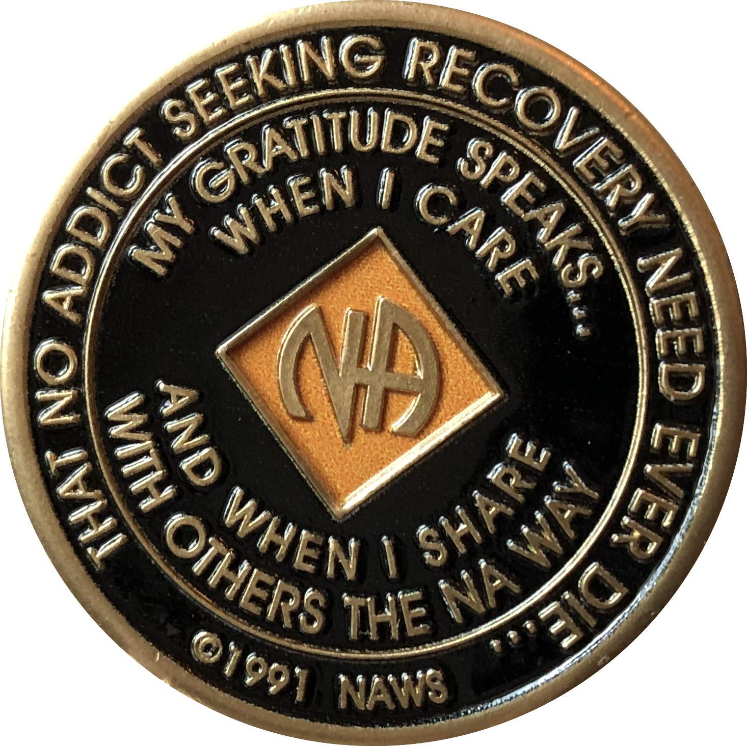 30 Year Orange and Black NA Medallion Official Narcotics Anonymous Chip XXX