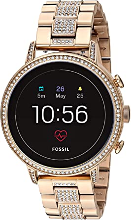 Fossil Womens Gen 4 Venture HR Stainless Steel Touchscreen Smartwatch with Heart Rate, GPS, NFC, and Smartphone Notifications