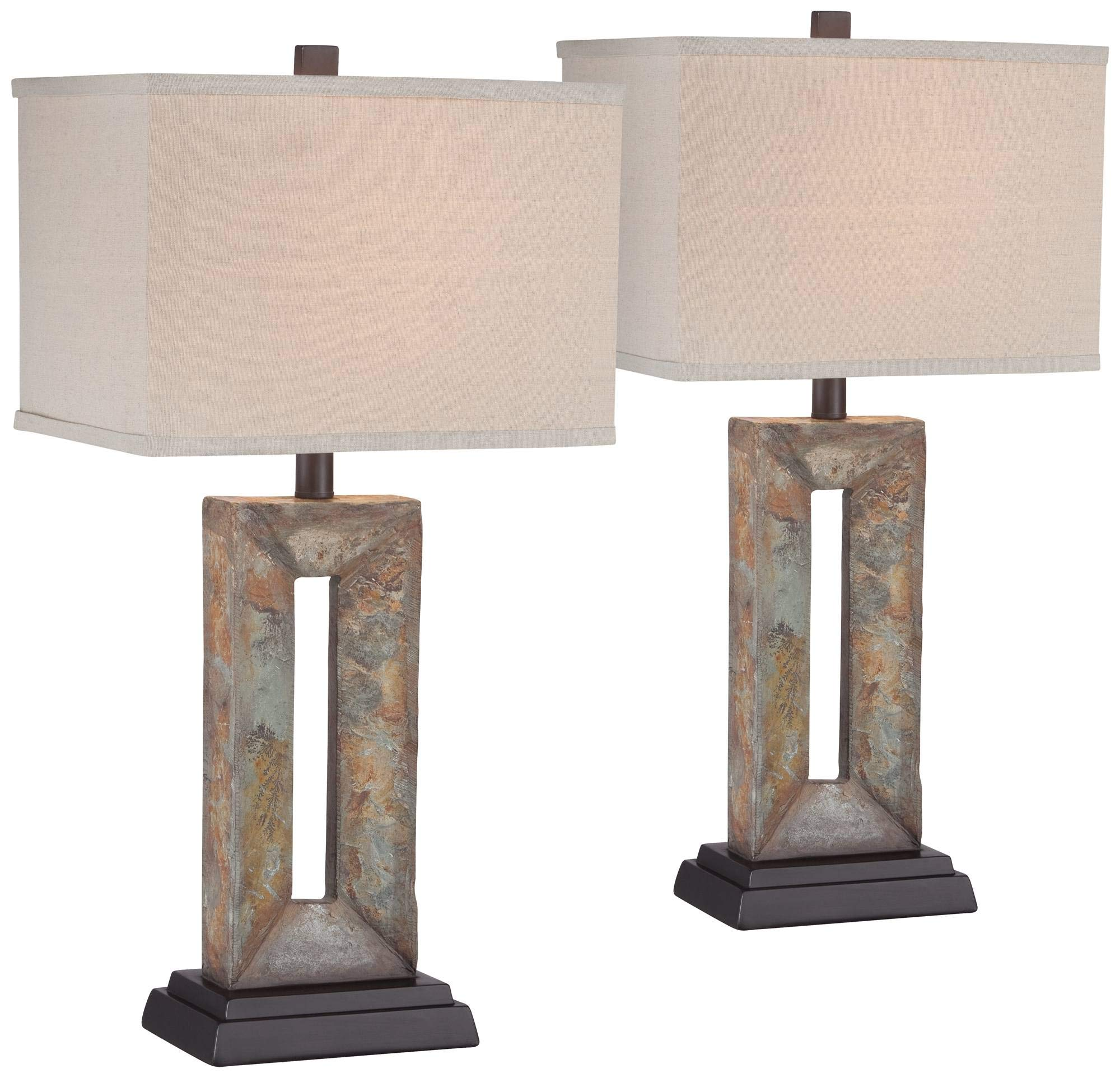 Tahoe Rustic Table Lamps Set of 2 Natural Stale Open Rectangular Box Shade for Living Room Family Bedroom Bedside - Franklin Iron Works