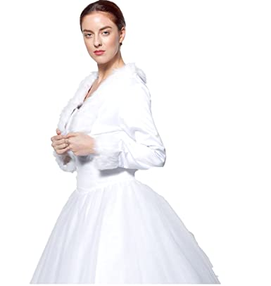 atopdress@ Faux Fur satin jacket all size bridal Bolero shrug bridemaids evening prom dress jacket