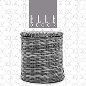 Elle Decor Vallauris Patio Outdoor Furniture Collection Premium All Weather Wicker, Storage Side Table, Gray