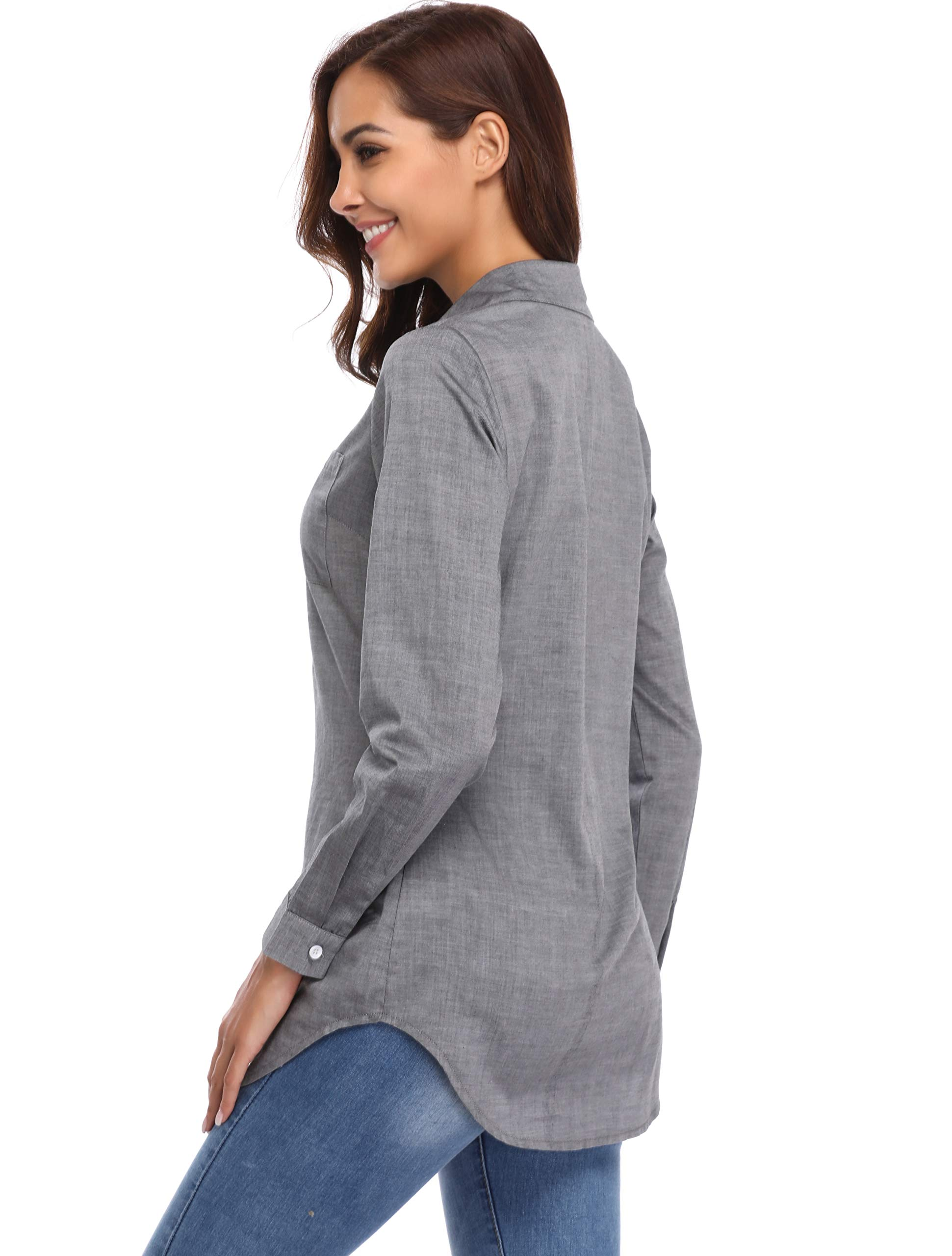 Argstar Women's Chambray Button Down Shirt Long Sleeve Jeans Top,Gray,Large (US 12-14) by Argstar (Image #3)