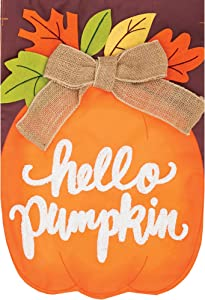 "Custom Decor Hello Pumpkin Garden Sized Applique Flag - 12"" x 18"" - Fall Pumpkin Flag"
