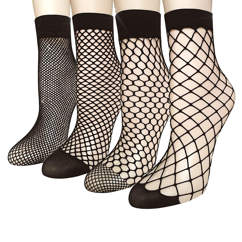 4 Pairs Women's Lace Fishnet Sheer Ankle Dress Socks - Stylish Black