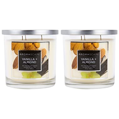 Aromascape 3-Wick Scented Jar Candle, Vanilla and Almond, 2-Count