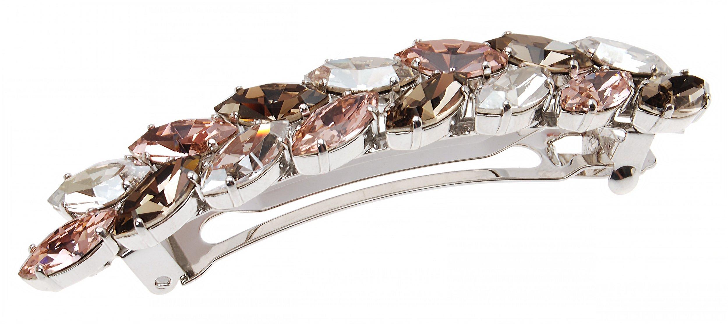 L. Erickson Large Ivy Crystal Barrette - Vintage Rose/Greige/Silver Shade/Silver