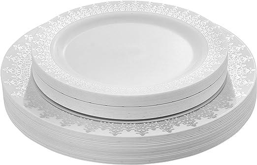 FREE SHIPPING 40 Black Elegant Square Disposable Plastic Wedding Dinner Plates