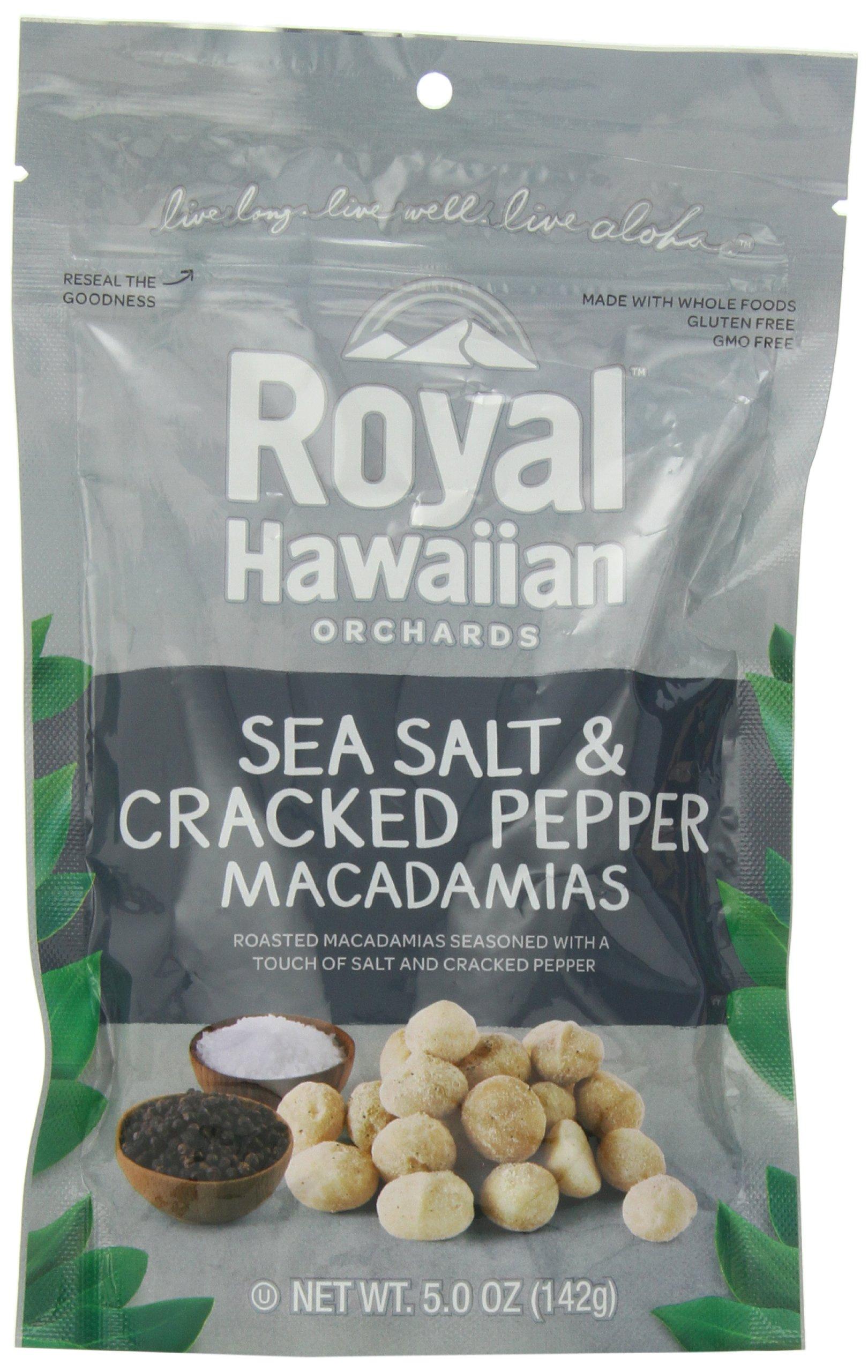 Royal Hawaiian Orchards Macadamias, Sea Salt and Cracked Pepper, 5 Ounce