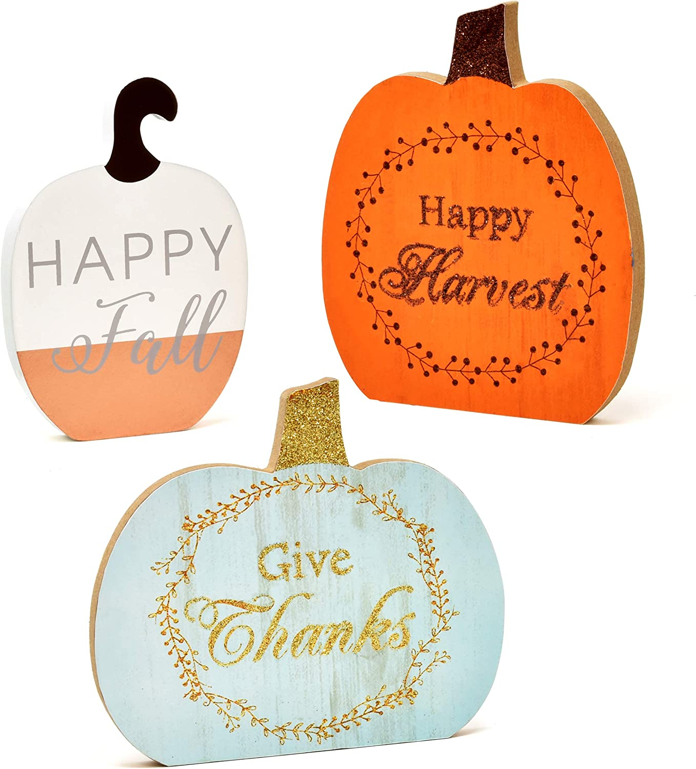 3 Thanksgiving Centerpiece Table Decor Fall Decorations Pumpkins Harvest Autumn Pumpkin Centerpieces for Home Kitchen Featuring Happy Fall Harvest Give Thanks for Indoor Desk Decoration