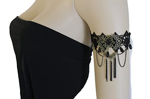 ff064bfe227 Image Unavailable. Image not available for. Color: TFJ Women Fashion Jewelry  Black Metal Chains High Upper Arm Cuff ...