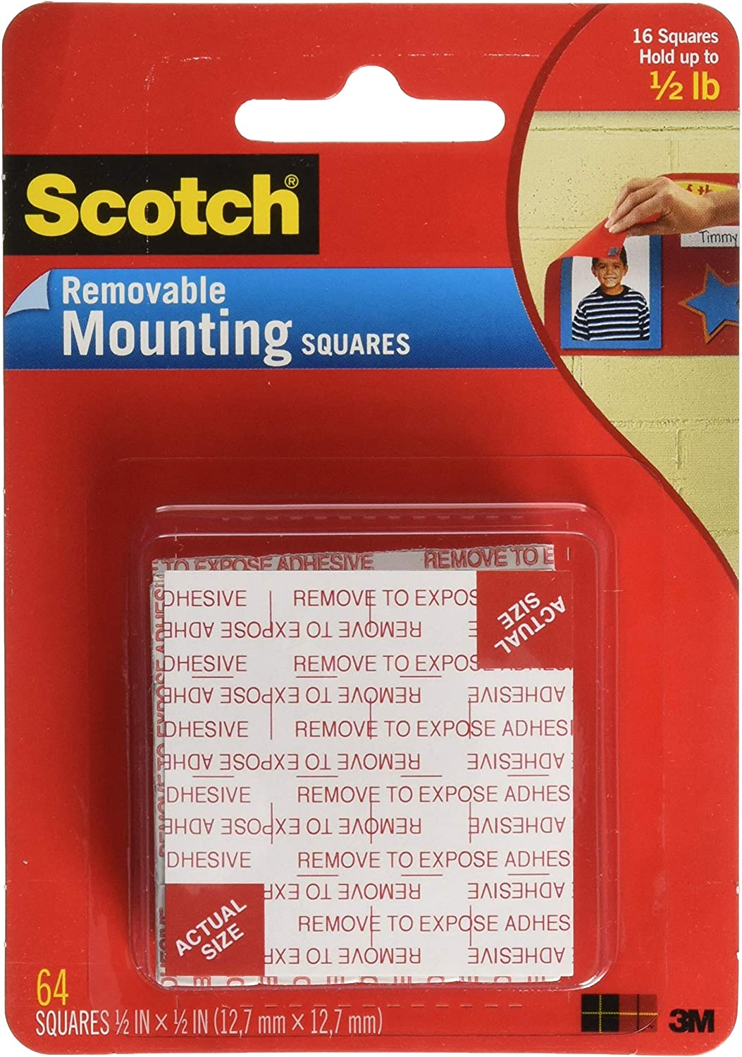 Scotch Foam Mounting Removable, 1/2 x 1/2 Inch, 64 Squares (108-SML) (6-Pack)