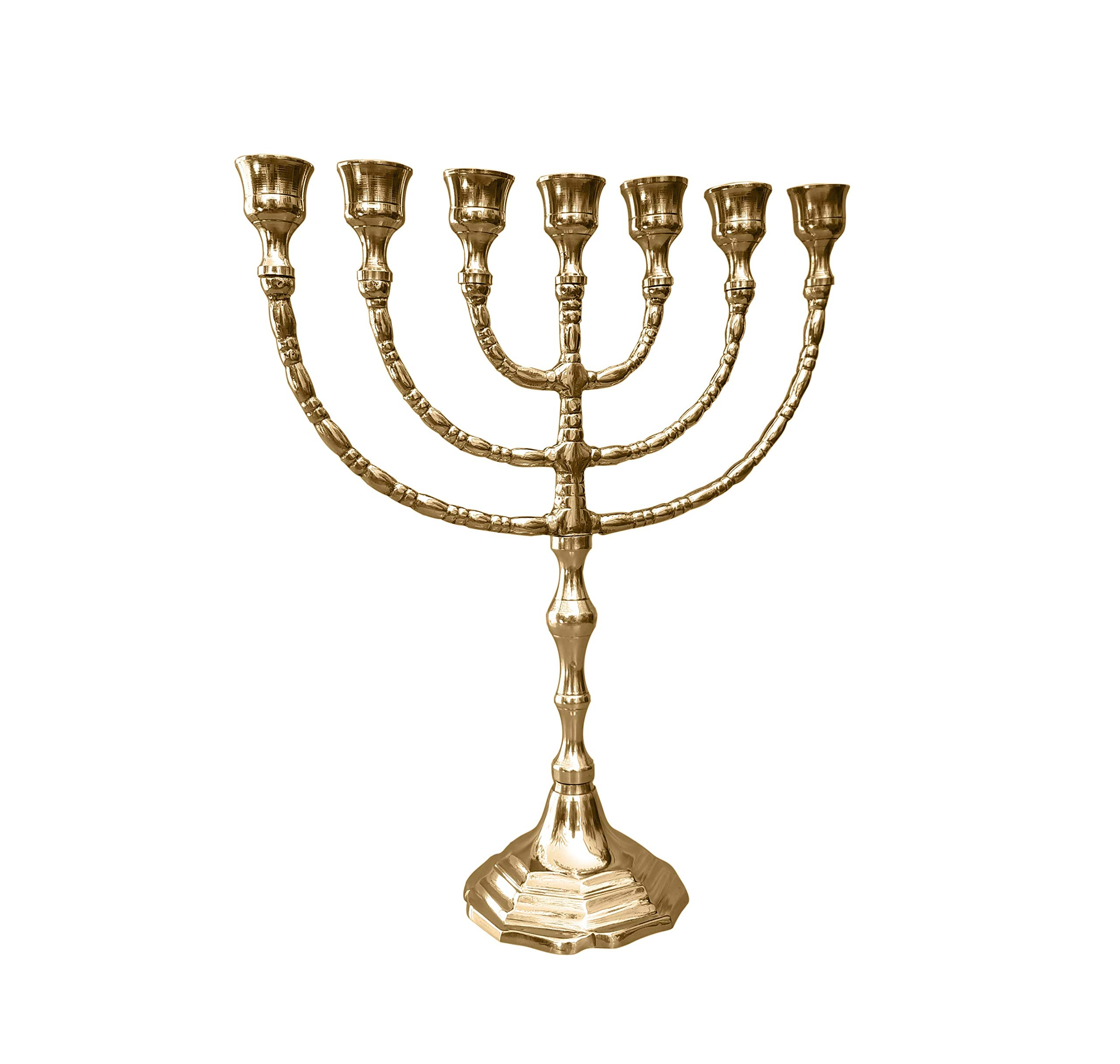 7 Branches Brass Menorah - 12 Inches Hight by Amen Judaica