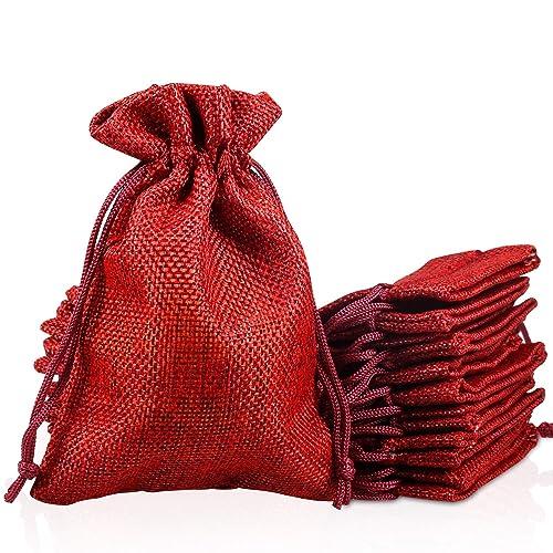 PAMIYO 30 Unidades Rojo Yute Sacos de Yute Bolsa, Calendario de Adviento Yute Bolsa tamaño 10 cm x 14 cm Calendario de Adviento plástico Bolsa Natural ...
