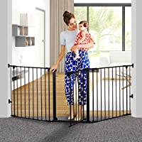 """KingSo 80 inch Auto Close Baby Gate Super Wide Safety Gate Foldable Extra Wide 25-80 inch Walk Thru for House Stair Doorways Hallways Include Hardware Mounts(30"""" Tall, Black)"""