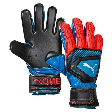 ad239240c5fd PUMA Unisex's One Protect 3 JR Goalkeeper Gloves, Bleu Azur-Red Blast Black,
