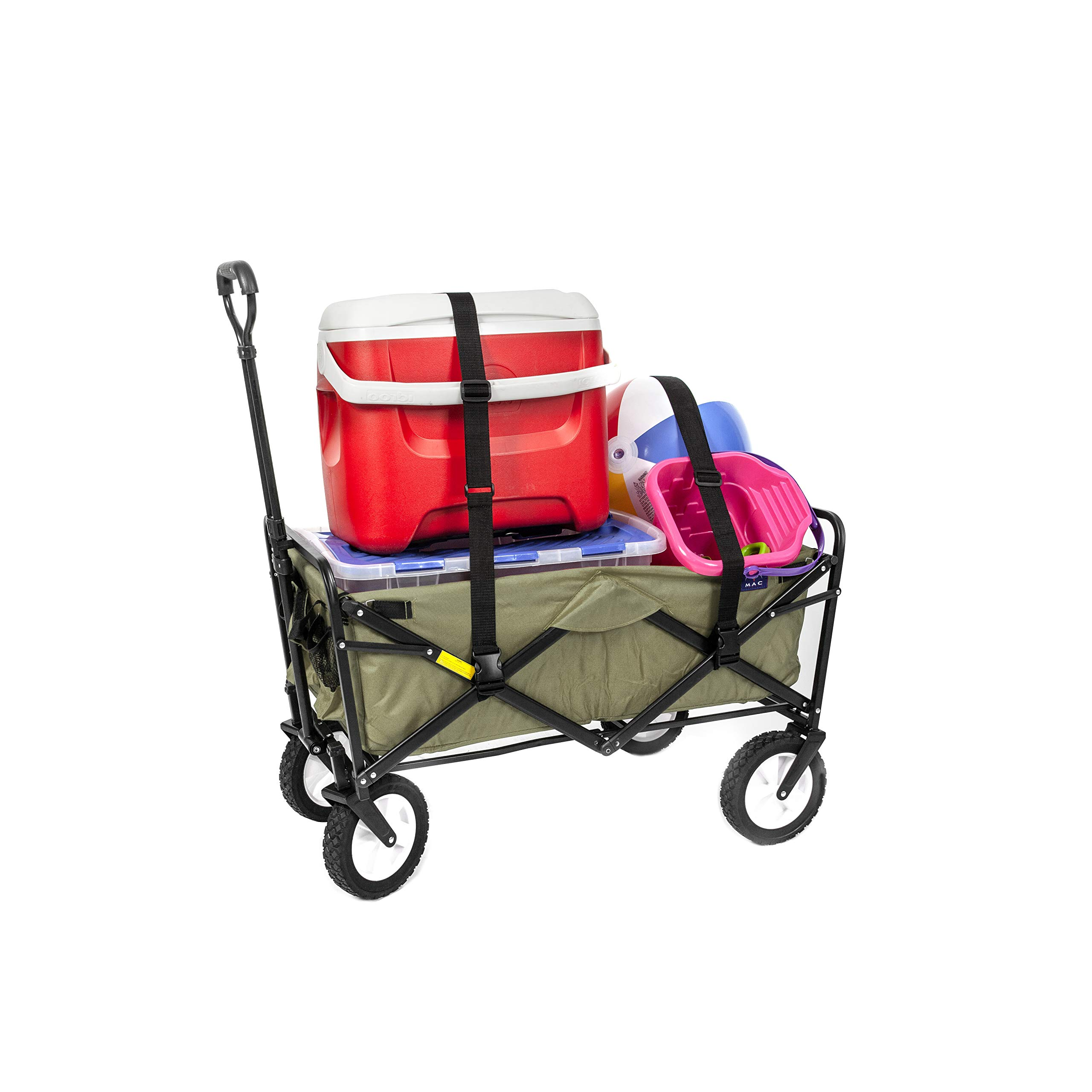 Mac Sports Collapsible Folding Outdoor Utility Wagon with Straps, Green