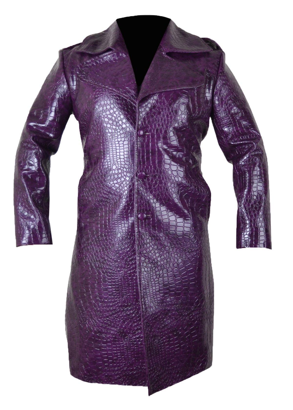 MSHC Joker Jared Leto Purple Coat Suicide Squad Crocodile Pattern Trench Coat (3XL)